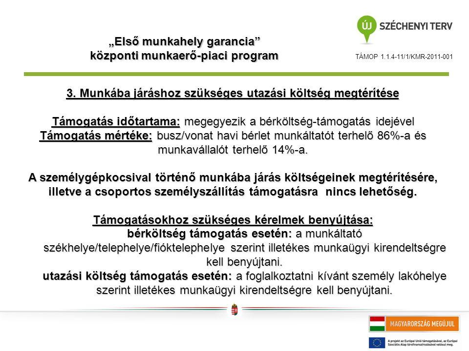"""TÁMOP 1.1.4-11/1/KMR-2011-001 """"Első munkahely garancia központi munkaerő-piaci program 3."""