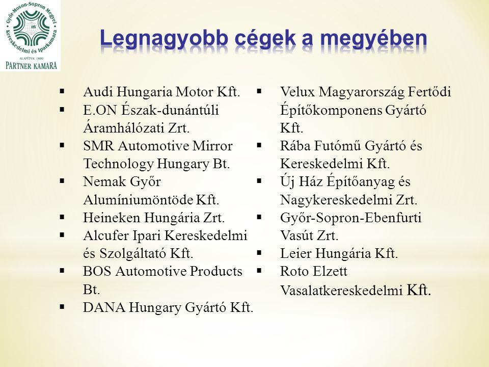  Audi Hungaria Motor Kft. E.ON Észak-dunántúli Áramhálózati Zrt.