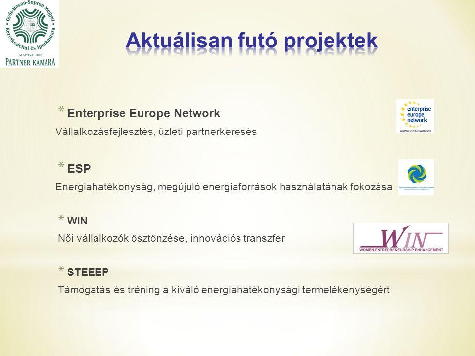 * Enterprise Europe Network Vállalkozásfejlesztés, üzleti partnerkeresés * ESP Energiahatékonyság, megújuló energiaforrások használatának fokozása * WIN Női vállalkozók ösztönzése, innovációs transzfer * STEEEP Támogatás és tréning a kiváló energiahatékonysági termelékenységért