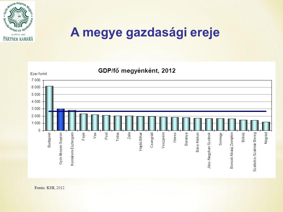 A megye gazdasági ereje Forrás: KSH, 2012