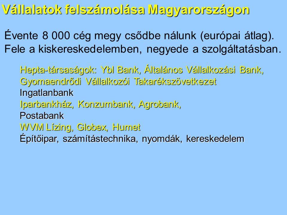 Vállalatok felszámolása Magyarországon Hepta-társaságok: Ybl Bank, Általános Vállalkozási Bank, Gyomaendrődi Vállalkozói Takarékszövetkezet Ingatlanbank Iparbankház, Konzumbank, Agrobank, Postabank WVM Lízing, Globex, Humet Építőipar, számítástechnika, nyomdák, kereskedelem Évente 8 000 cég megy csődbe nálunk (európai átlag).