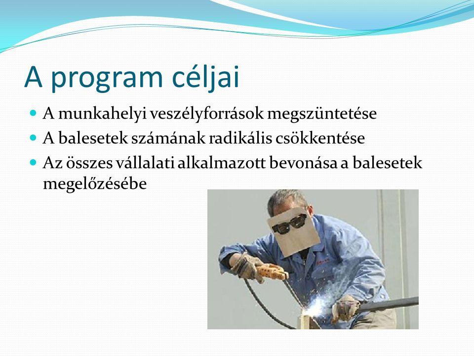 A program céljai A munkahelyi veszélyforrások megszüntetése A balesetek számának radikális csökkentése Az összes vállalati alkalmazott bevonása a balesetek megelőzésébe