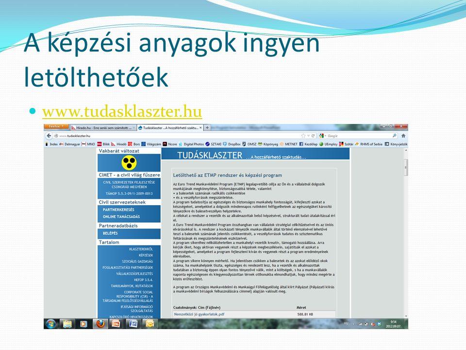 A képzési anyagok ingyen letölthetőek www.tudasklaszter.hu