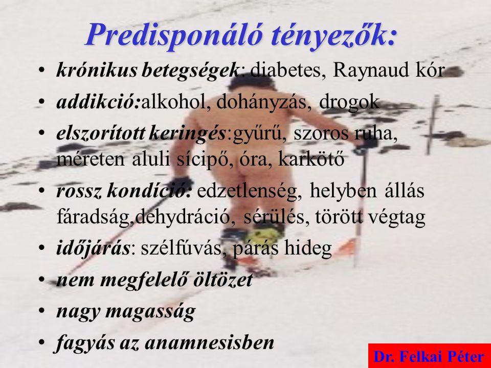 Predisponáló tényezők: krónikus betegségek: diabetes, Raynaud kór addikció:alkohol, dohányzás, drogok elszorított keringés:gyűrű, szoros ruha, méreten