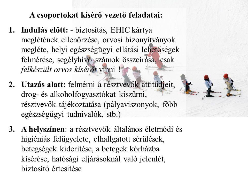 A csoportokat kísérő vezető feladatai: 1.Indulás előtt: - biztosítás, EHIC kártya meglétének ellenőrzése, orvosi bizonyítványok megléte, helyi egészsé