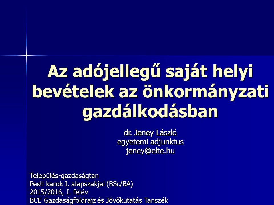 Az adójellegű saját helyi bevételek az önkormányzati gazdálkodásban Település-gazdaságtan Pesti karok I.