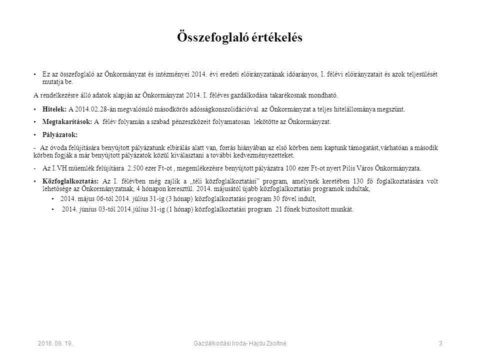 Összefoglaló értékelés Ez az összefoglaló az Önkormányzat és intézményei 2014. évi eredeti előirányzatának időarányos, I. félévi előirányzatait és azo