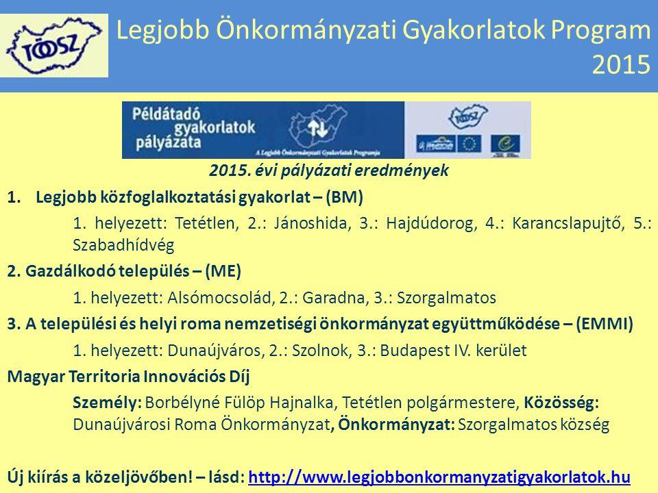 Legjobb Önkormányzati Gyakorlatok Program 2015 2015.