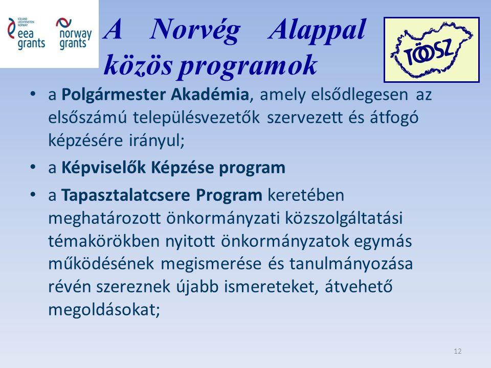 A Norvég Alappal közös közös programok a Polgármester Akadémia, amely elsődlegesen az elsőszámú településvezetők szervezett és átfogó képzésére irányul; a Képviselők Képzése program a Tapasztalatcsere Program keretében meghatározott önkormányzati közszolgáltatási témakörökben nyitott önkormányzatok egymás működésének megismerése és tanulmányozása révén szereznek újabb ismereteket, átvehető megoldásokat; 12