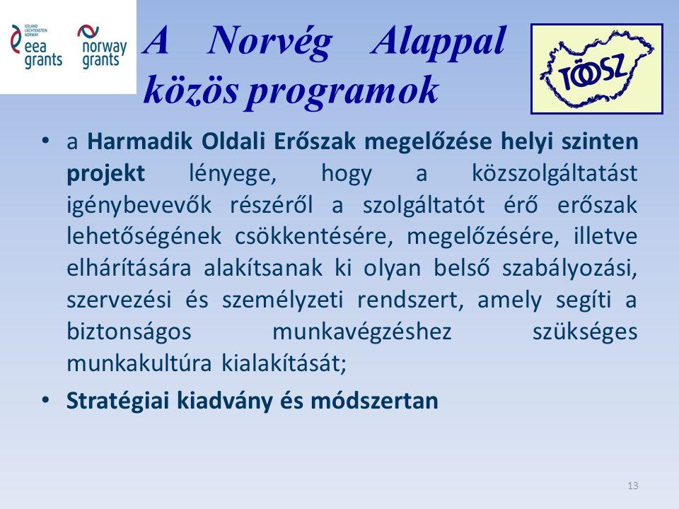 A Norvég Alappal közös közös programok a Harmadik Oldali Erőszak megelőzése helyi szinten projekt lényege, hogy a közszolgáltatást igénybevevők részéről a szolgáltatót érő erőszak lehetőségének csökkentésére, megelőzésére, illetve elhárítására alakítsanak ki olyan belső szabályozási, szervezési és személyzeti rendszert, amely segíti a biztonságos munkavégzéshez szükséges munkakultúra kialakítását; Stratégiai kiadvány és módszertan 13