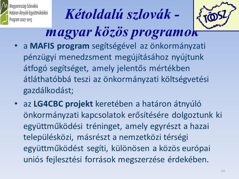 Kétoldalú szlovák - magyar közös programok a MAFIS program segítségével az önkormányzati pénzügyi menedzsment megújításához nyújtunk átfogó segítséget, amely jelentős mértékben átláthatóbbá teszi az önkormányzati költségvetési gazdálkodást; az LG4CBC projekt keretében a határon átnyúló önkormányzati kapcsolatok erősítésére dolgoztunk ki együttműködési tréninget, amely egyrészt a hazai településközi, másrészt a nemzetközi térségi együttműködést segíti, különösen a közös európai uniós fejlesztési források megszerzése érdekében.