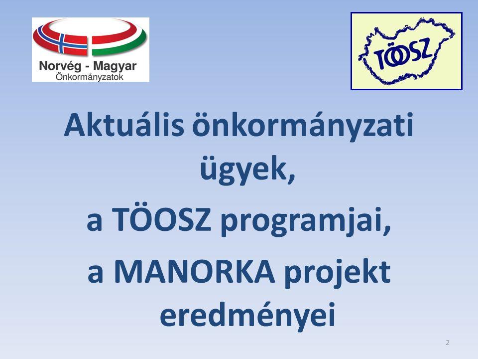 Aktuális önkormányzati ügyek, a TÖOSZ programjai, a MANORKA projekt eredményei 2