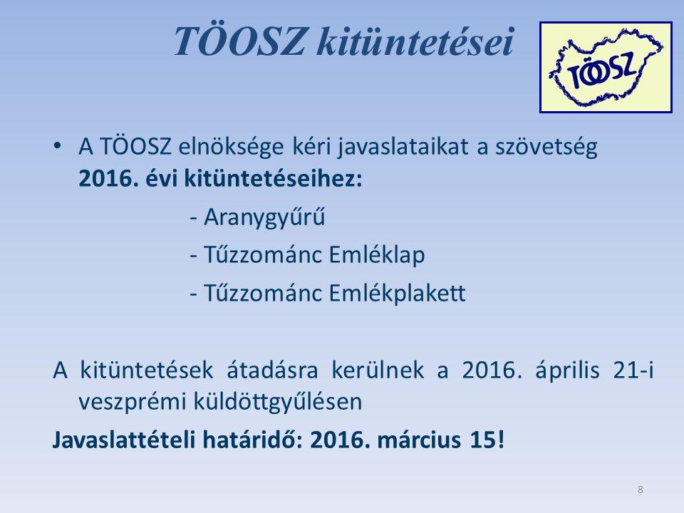TÖOSZ kitüntetései A TÖOSZ elnöksége kéri javaslataikat a szövetség 2016.