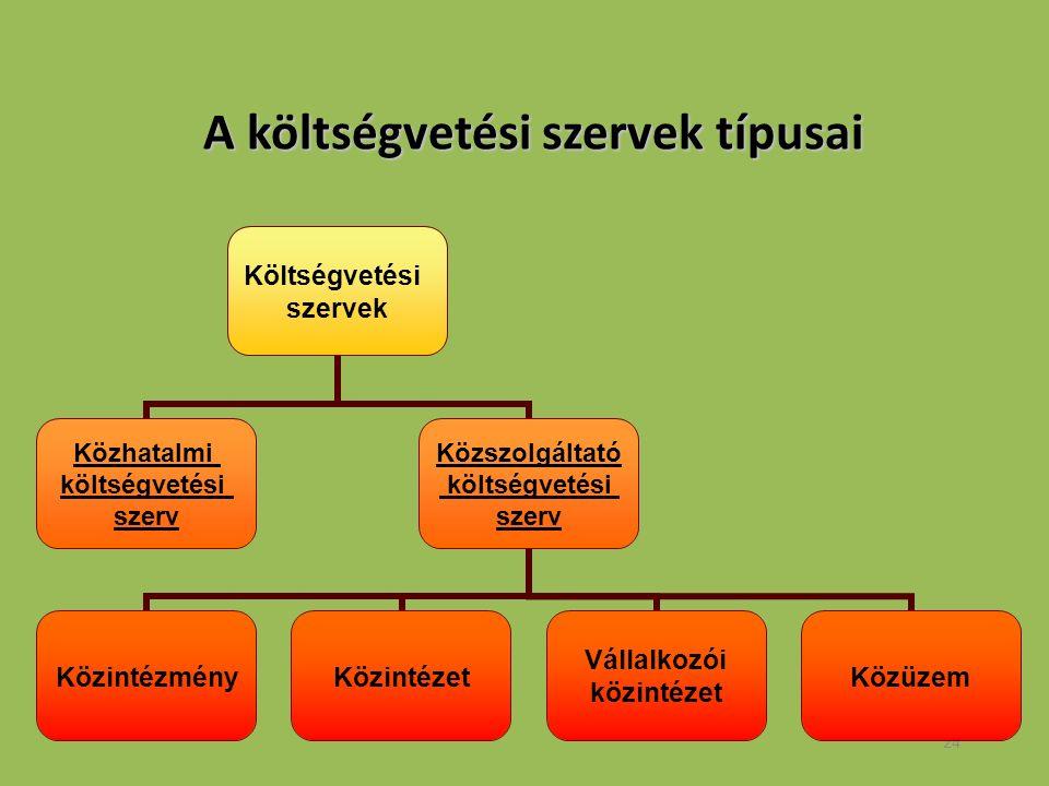 24 A költségvetési szervek típusai A költségvetési szervek típusai Költségvetési szervek Közhatalmi költségvetési szerv Közszolgáltató költségvetési szerv KözintézményKözintézet Vállalkozói közintézet Közüzem