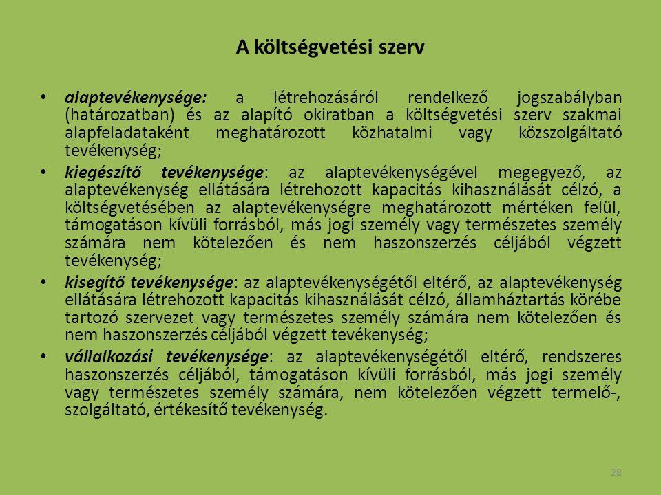 28 A költségvetési szerv alaptevékenysége: a létrehozásáról rendelkező jogszabályban (határozatban) és az alapító okiratban a költségvetési szerv szakmai alapfeladataként meghatározott közhatalmi vagy közszolgáltató tevékenység; kiegészítő tevékenysége: az alaptevékenységével megegyező, az alaptevékenység ellátására létrehozott kapacitás kihasználását célzó, a költségvetésében az alaptevékenységre meghatározott mértéken felül, támogatáson kívüli forrásból, más jogi személy vagy természetes személy számára nem kötelezően és nem haszonszerzés céljából végzett tevékenység; kisegítő tevékenysége: az alaptevékenységétől eltérő, az alaptevékenység ellátására létrehozott kapacitás kihasználását célzó, államháztartás körébe tartozó szervezet vagy természetes személy számára nem kötelezően és nem haszonszerzés céljából végzett tevékenység; vállalkozási tevékenysége: az alaptevékenységétől eltérő, rendszeres haszonszerzés céljából, támogatáson kívüli forrásból, más jogi személy vagy természetes személy számára, nem kötelezően végzett termelő-, szolgáltató, értékesítő tevékenység.