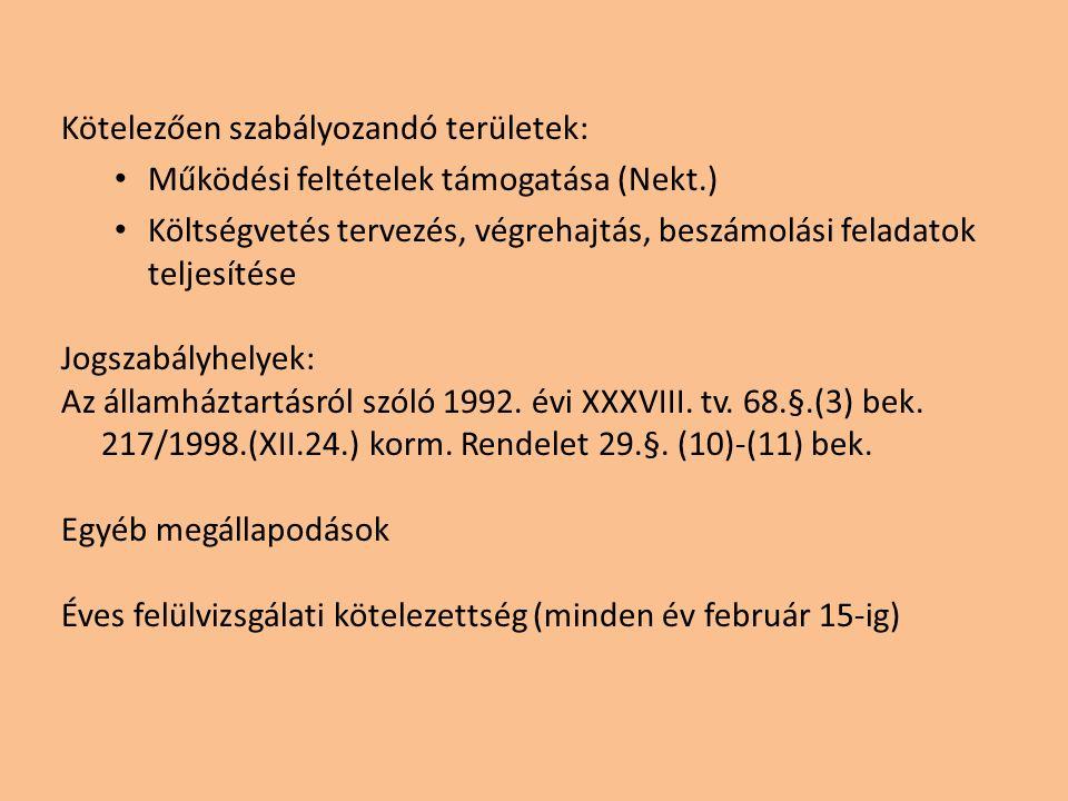 Kötelezően szabályozandó területek: Működési feltételek támogatása (Nekt.) Költségvetés tervezés, végrehajtás, beszámolási feladatok teljesítése Jogszabályhelyek: Az államháztartásról szóló 1992.