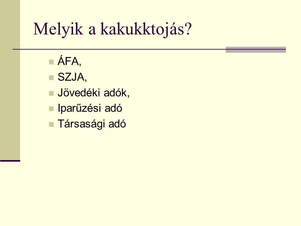 Melyik a kakukktojás ÁFA, SZJA, Jövedéki adók, Iparűzési adó Társasági adó