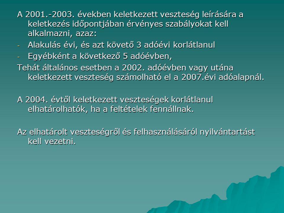 A 2001.-2003. években keletkezett veszteség leírására a keletkezés időpontjában érvényes szabályokat kell alkalmazni, azaz: - Alakulás évi, és azt köv