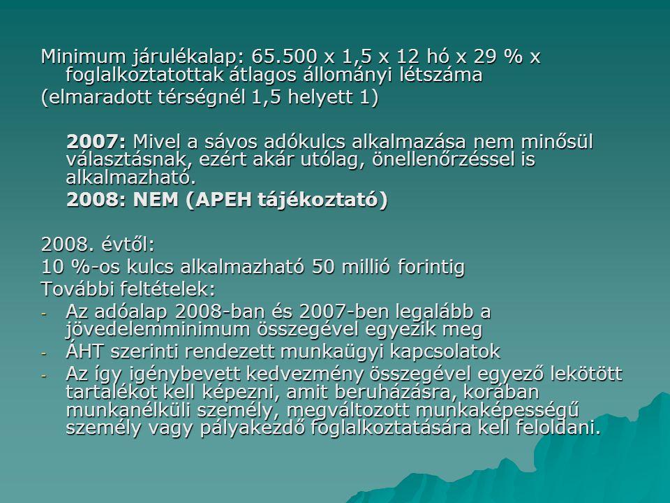 Minimum járulékalap: 65.500 x 1,5 x 12 hó x 29 % x foglalkoztatottak átlagos állományi létszáma (elmaradott térségnél 1,5 helyett 1) 2007: Mivel a sáv