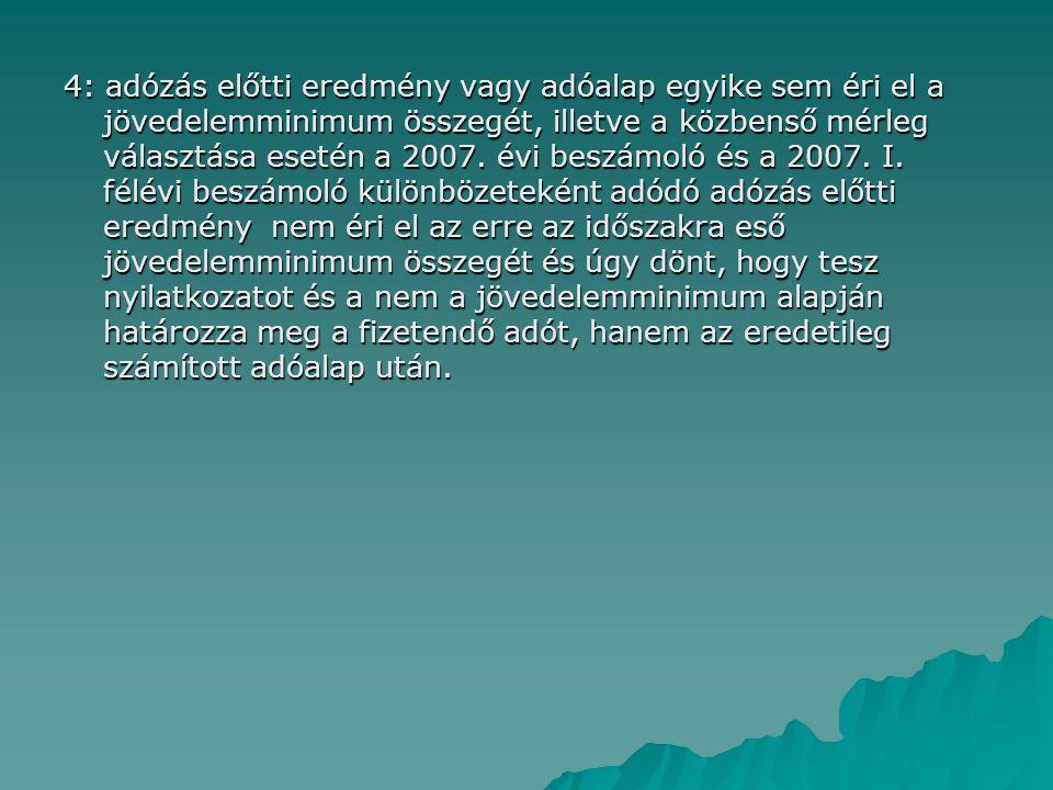 4: adózás előtti eredmény vagy adóalap egyike sem éri el a jövedelemminimum összegét, illetve a közbenső mérleg választása esetén a 2007. évi beszámol