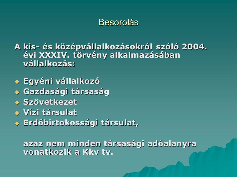 Besorolás A kis- és középvállalkozásokról szóló 2004. évi XXXIV. törvény alkalmazásában vállalkozás:  Egyéni vállalkozó  Gazdasági társaság  Szövet