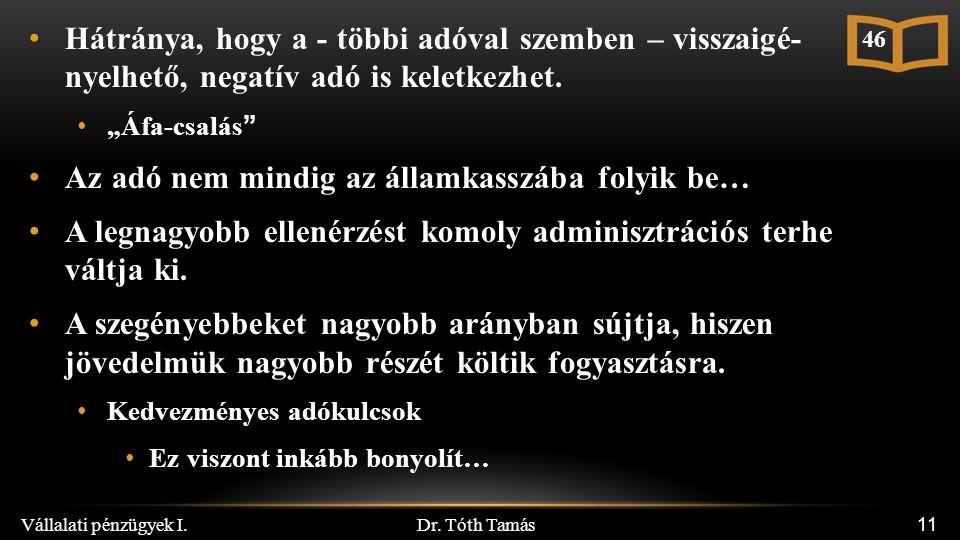 """Dr. Tóth Tamás Vállalati pénzügyek I. 11 Hátránya, hogy a - többi adóval szemben – visszaigé- nyelhető, negatív adó is keletkezhet. """"Áfa-csalás"""" Az ad"""