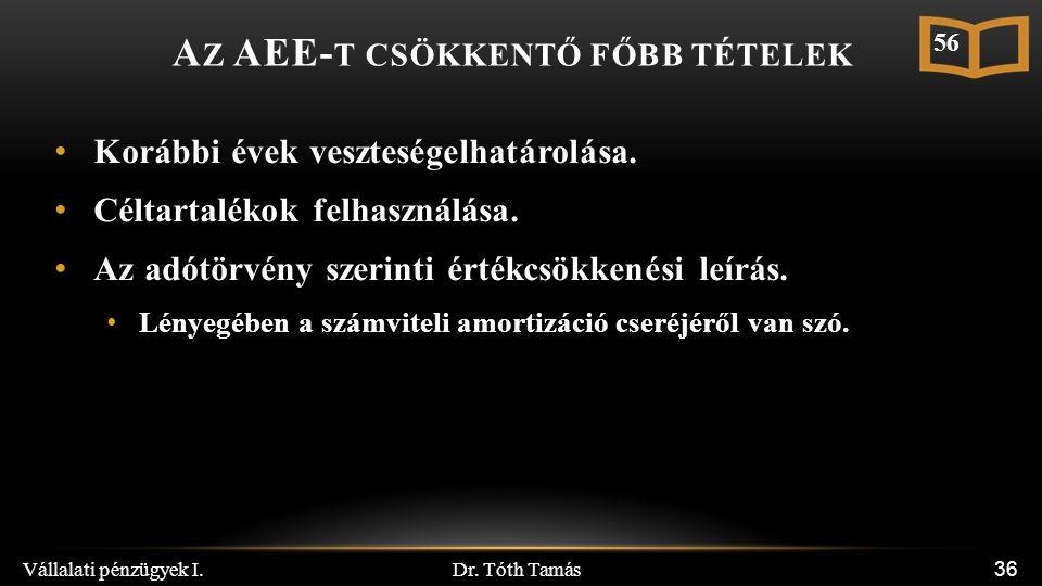 Dr. Tóth Tamás Vállalati pénzügyek I. 36 A Z AEE- T CSÖKKENTŐ FŐBB TÉTELEK Korábbi évek veszteségelhatárolása. Céltartalékok felhasználása. Az adótörv