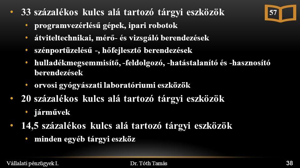 Dr. Tóth Tamás Vállalati pénzügyek I. 38 33 százalékos kulcs alá tartozó tárgyi eszközök programvezérlésű gépek, ipari robotok átviteltechnikai, mérő-