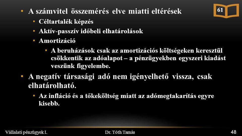 Dr. Tóth Tamás Vállalati pénzügyek I. 48 A számvitel összemérés elve miatti eltérések Céltartalék képzés Aktív-passzív időbeli elhatárolások Amortizác