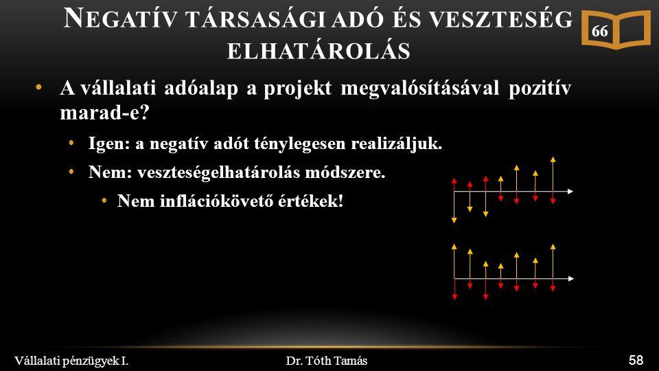 Dr. Tóth Tamás Vállalati pénzügyek I. 58 N EGATÍV TÁRSASÁGI ADÓ ÉS VESZTESÉG ELHATÁROLÁS A vállalati adóalap a projekt megvalósításával pozitív marad-
