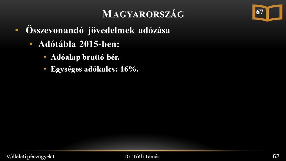 Dr. Tóth Tamás Vállalati pénzügyek I. 62 M AGYARORSZÁG Összevonandó jövedelmek adózása Adótábla 2015-ben: Adóalap bruttó bér. Egységes adókulcs: 16%.