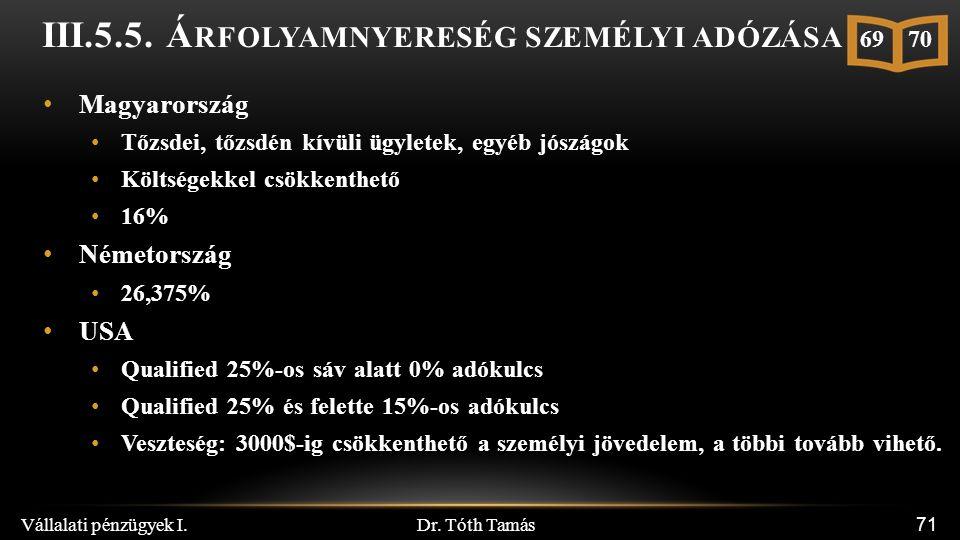 Dr. Tóth Tamás Vállalati pénzügyek I. 71 III.5.5.