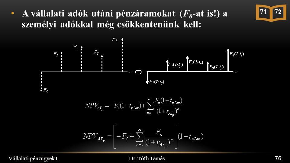Dr. Tóth Tamás Vállalati pénzügyek I. 76 A vállalati adók utáni pénzáramokat (F 0 -at is!) a személyi adókkal még csökkentenünk kell: 71 72