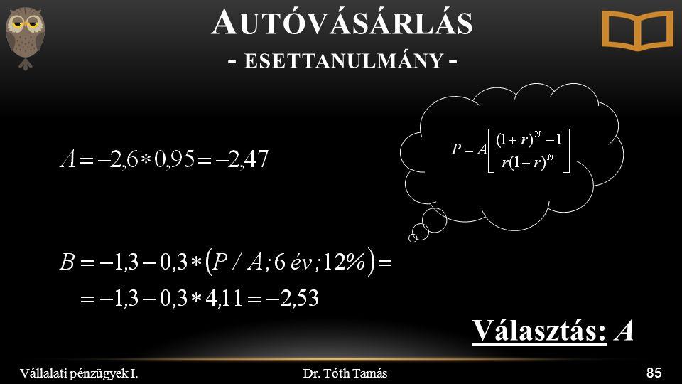 Dr. Tóth Tamás Vállalati pénzügyek I. 85 A UTÓVÁSÁRLÁS - ESETTANULMÁNY - Választás: A