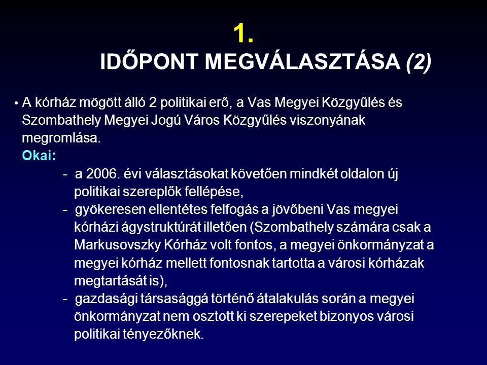 A kórház mögött álló 2 politikai erő, a Vas Megyei Közgyűlés és Szombathely Megyei Jogú Város Közgyűlés viszonyának megromlása.