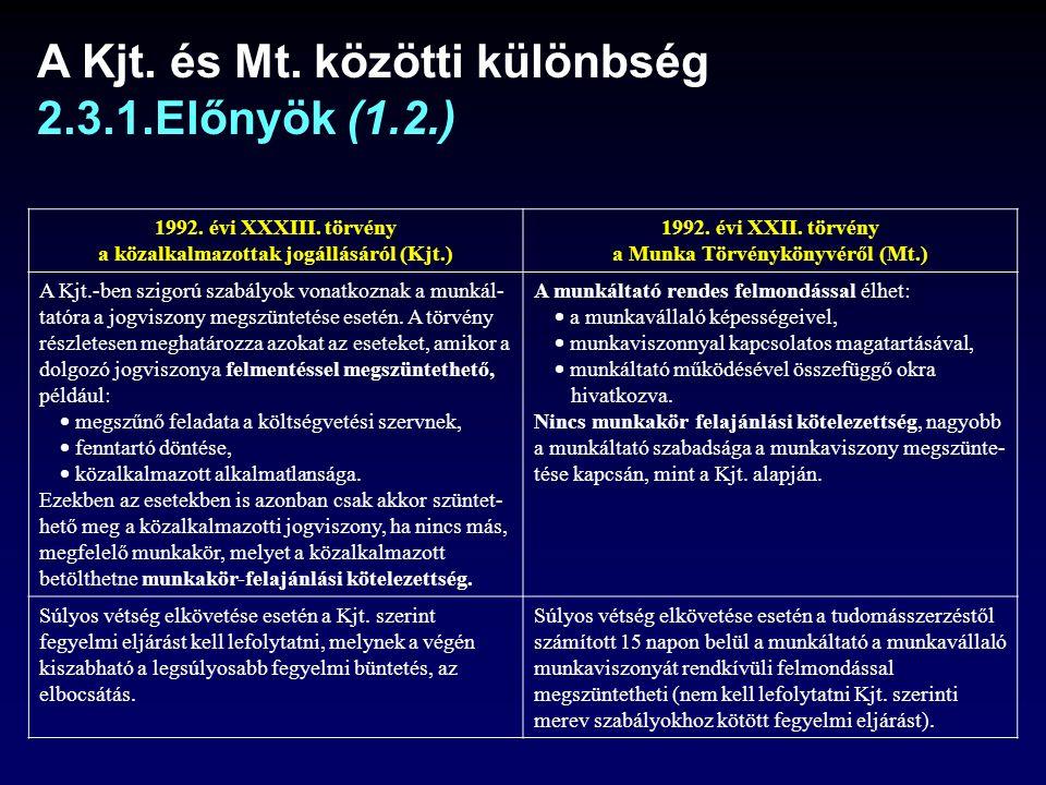 A Kjt.és Mt. közötti különbség 2.3.1.Előnyök (1.2.) 1992.