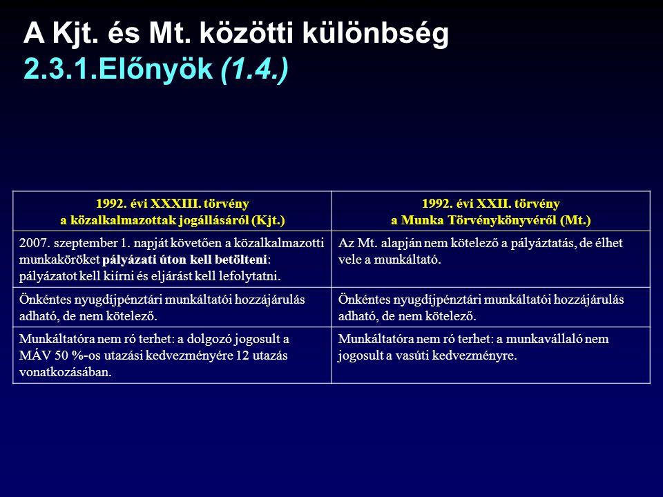 A Kjt.és Mt. közötti különbség 2.3.1.Előnyök (1.4.) 1992.