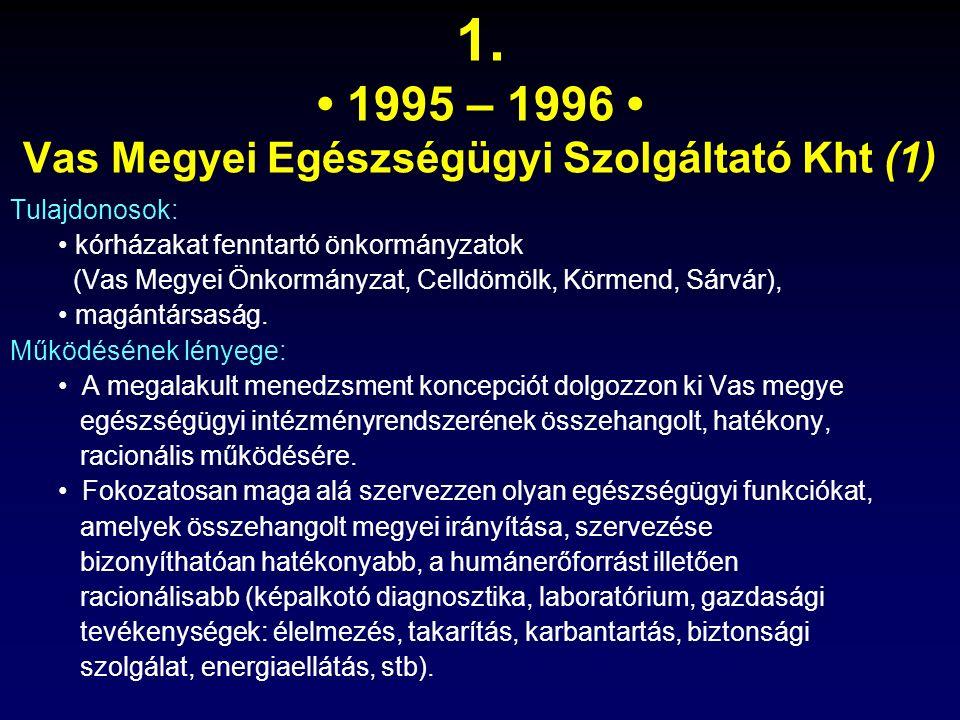 1. 1995 – 1996 Vas Megyei Egészségügyi Szolgáltató Kht (1) Tulajdonosok: kórházakat fenntartó önkormányzatok (Vas Megyei Önkormányzat, Celldömölk, Kör