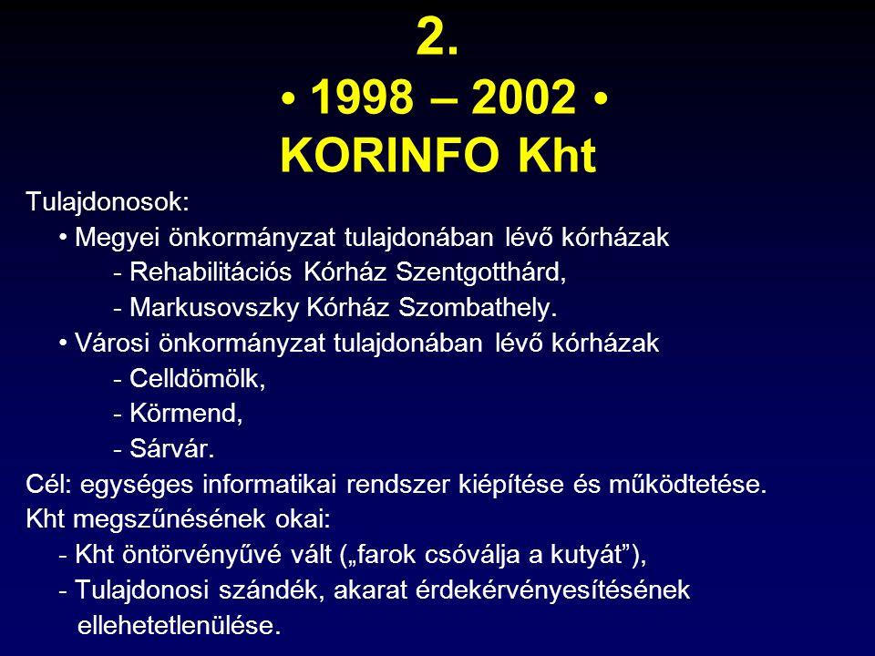 2. 1998 – 2002 KORINFO Kht Tulajdonosok: Megyei önkormányzat tulajdonában lévő kórházak - Rehabilitációs Kórház Szentgotthárd, - Markusovszky Kórház S