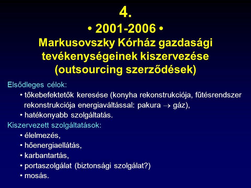 4. 2001-2006 Markusovszky Kórház gazdasági tevékenységeinek kiszervezése (outsourcing szerződések) Elsődleges célok: tőkebefektetők keresése (konyha r