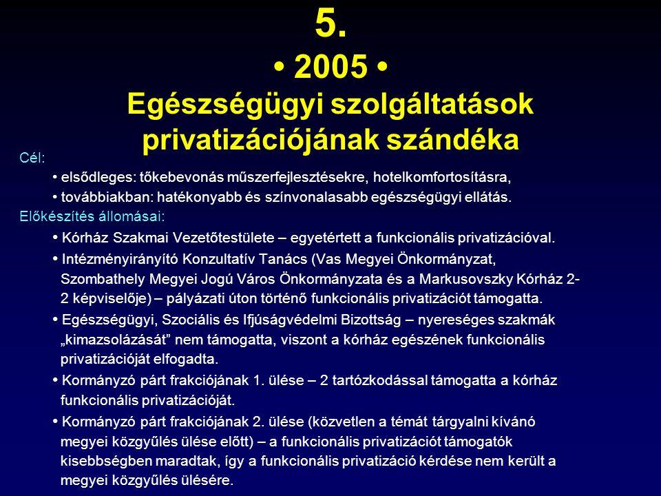 5. 2005 Egészségügyi szolgáltatások privatizációjának szándéka Cél: elsődleges: tőkebevonás műszerfejlesztésekre, hotelkomfortosításra, továbbiakban: