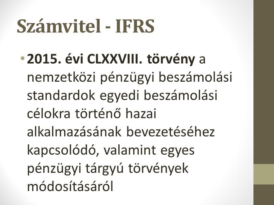 Számvitel - IFRS 2015. évi CLXXVIII.