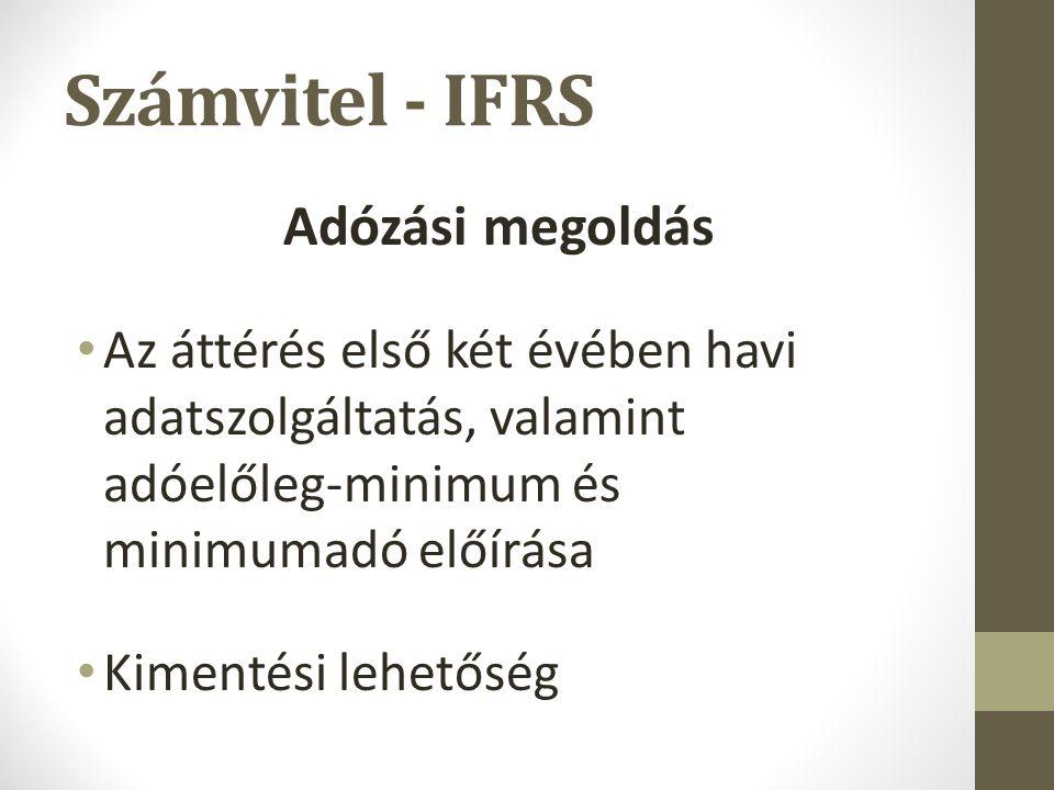 Számvitel - IFRS Adózási megoldás Az áttérés első két évében havi adatszolgáltatás, valamint adóelőleg-minimum és minimumadó előírása Kimentési lehetőség