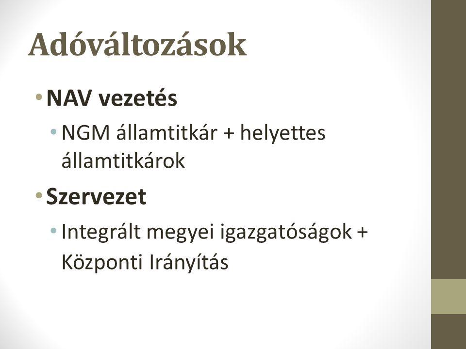 Adóváltozások NAV vezetés NGM államtitkár + helyettes államtitkárok Szervezet Integrált megyei igazgatóságok + Központi Irányítás