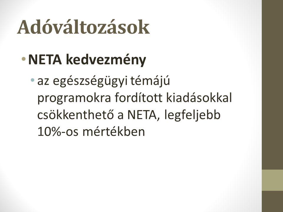 Adóváltozások NETA kedvezmény az egészségügyi témájú programokra fordított kiadásokkal csökkenthető a NETA, legfeljebb 10%-os mértékben