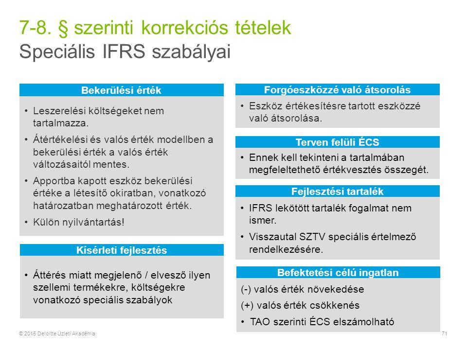 Speciális IFRS szabályai 7-8.