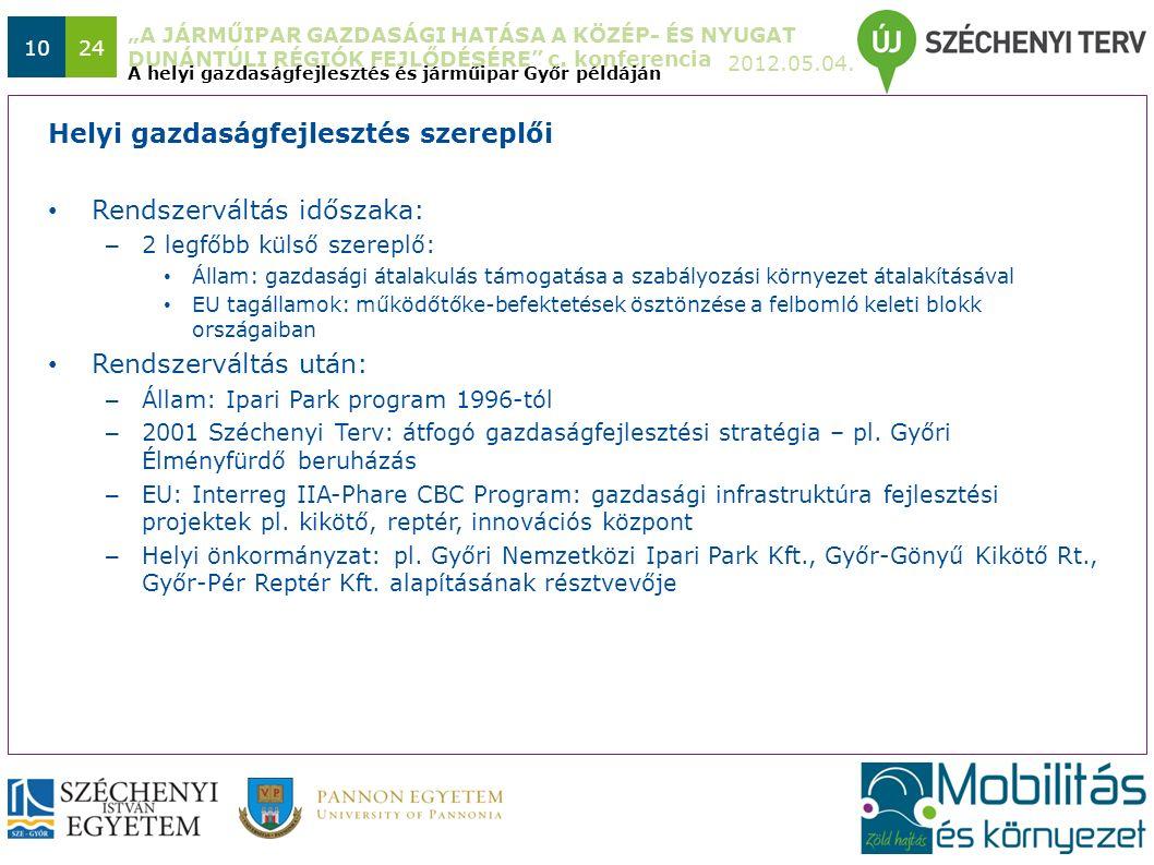 """""""A JÁRMŰIPAR GAZDASÁGI HATÁSA A KÖZÉP- ÉS NYUGAT DUNÁNTÚLI RÉGIÓK FEJLŐDÉSÉRE"""" c. konferencia 2012.05.04. 1024 A helyi gazdaságfejlesztés és járműipar"""