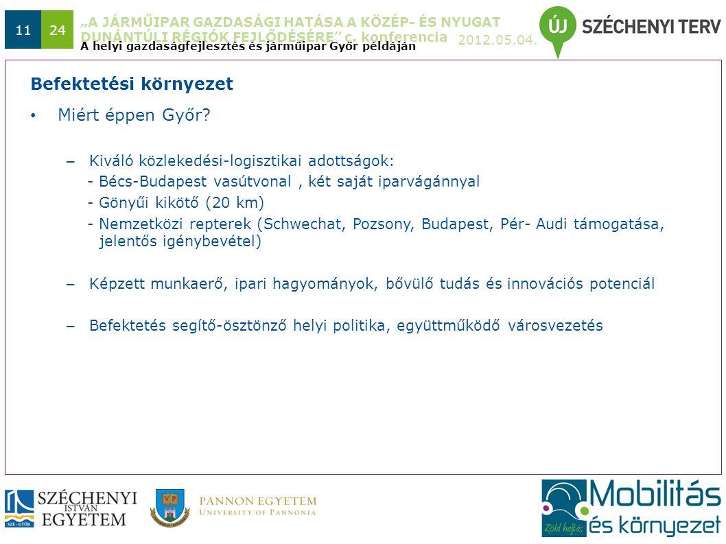 """""""A JÁRMŰIPAR GAZDASÁGI HATÁSA A KÖZÉP- ÉS NYUGAT DUNÁNTÚLI RÉGIÓK FEJLŐDÉSÉRE"""" c. konferencia 2012.05.04. 1124 Miért éppen Győr? – Kiváló közlekedési-"""