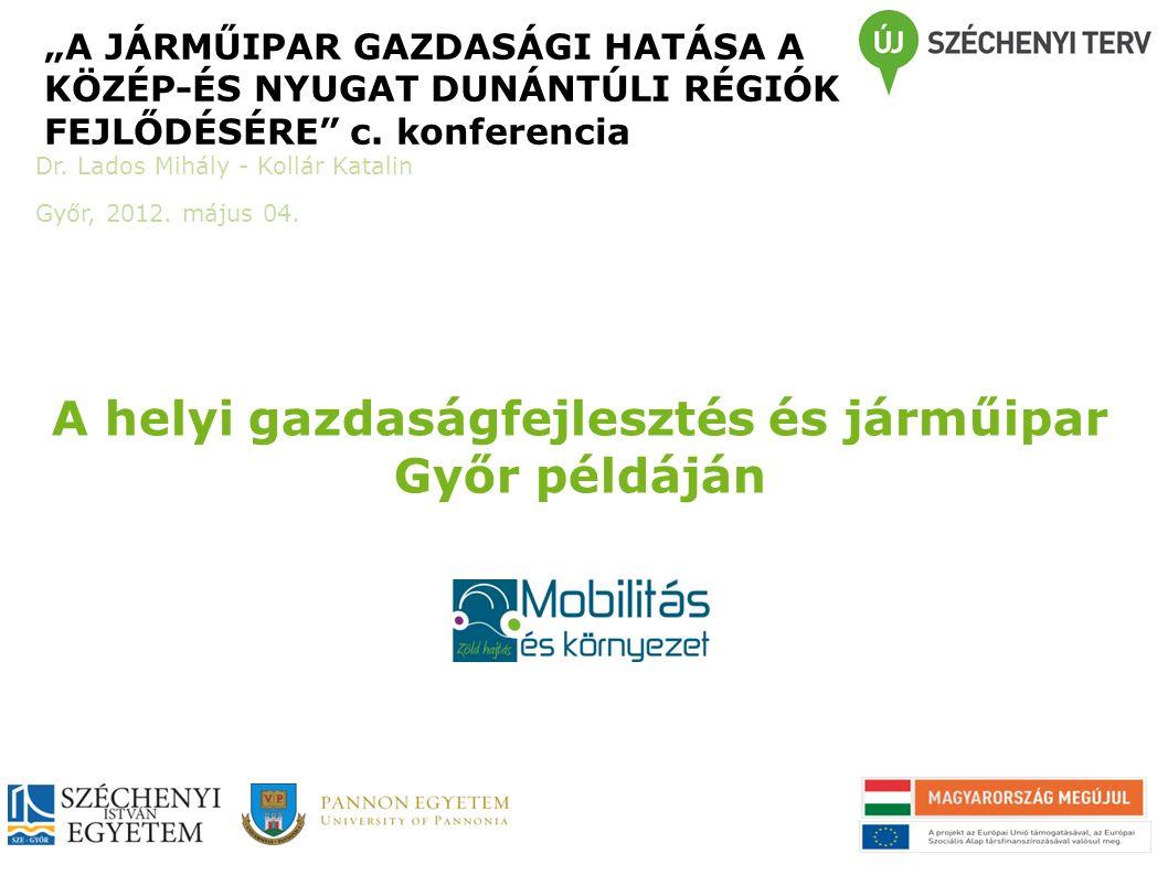 """A helyi gazdaságfejlesztés és járműipar Győr példáján """"A JÁRMŰIPAR GAZDASÁGI HATÁSA A KÖZÉP-ÉS NYUGAT DUNÁNTÚLI RÉGIÓK FEJLŐDÉSÉRE"""" c. konferencia Dr."""