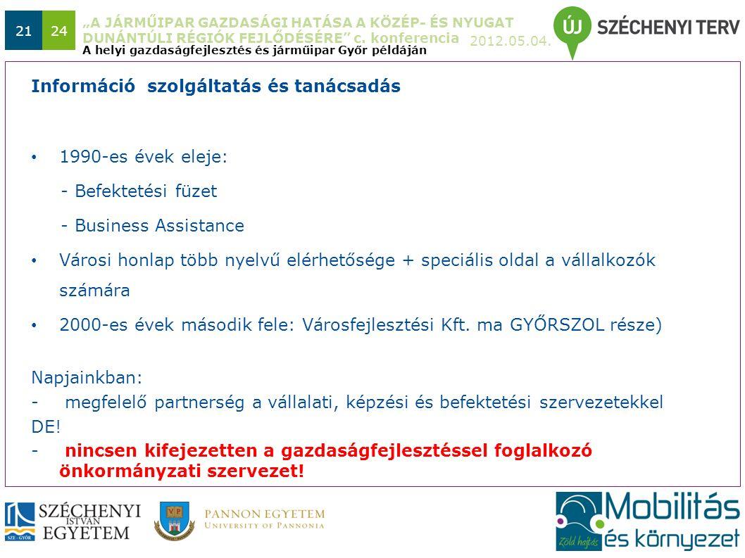 """""""A JÁRMŰIPAR GAZDASÁGI HATÁSA A KÖZÉP- ÉS NYUGAT DUNÁNTÚLI RÉGIÓK FEJLŐDÉSÉRE"""" c. konferencia 2012.05.04. 2124 1990-es évek eleje: - Befektetési füzet"""